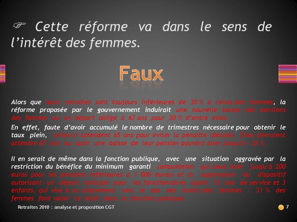  Cette réforme va dans le sens de l'intérêt des femmes. Il en serait de même dans la fonction publique, avec une situation aggravée par la restrictio