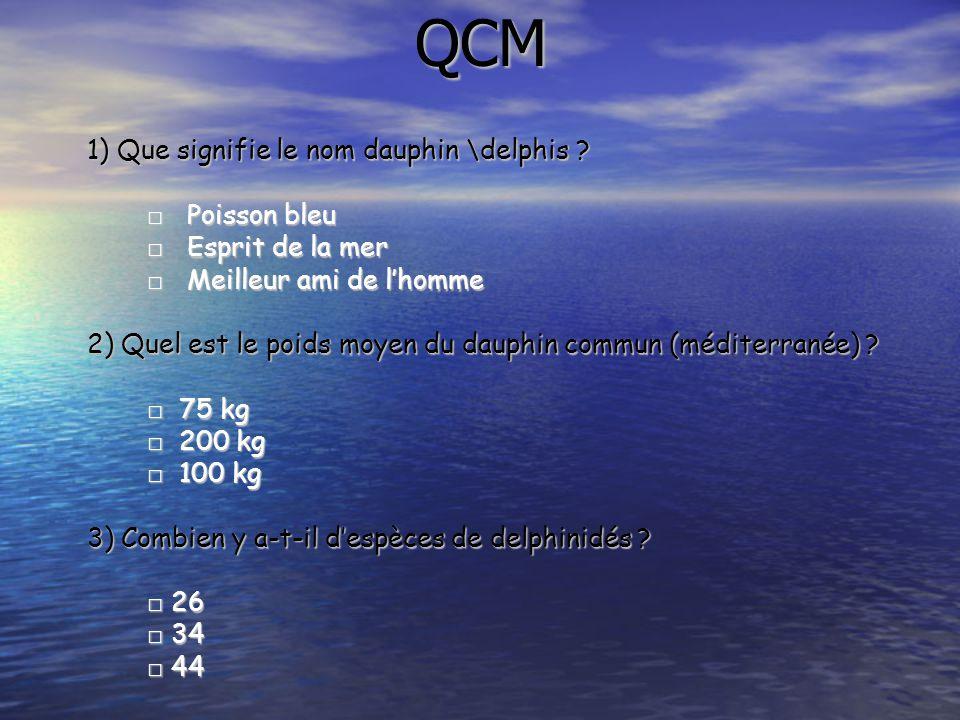 QCM 1) Que signifie le nom dauphin \delphis ? □ Poisson bleu □ Esprit de la mer □ Meilleur ami de l'homme 2) Quel est le poids moyen du dauphin commun