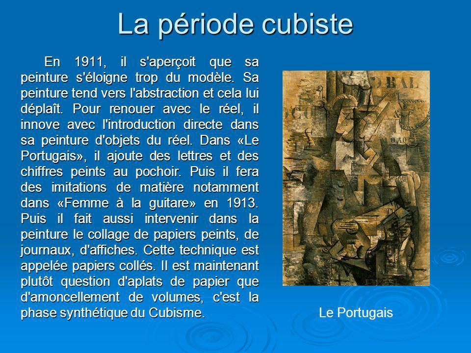 La période cubiste En 1911, il s'aperçoit que sa peinture s'éloigne trop du modèle. Sa peinture tend vers l'abstraction et cela lui déplaît. Pour reno