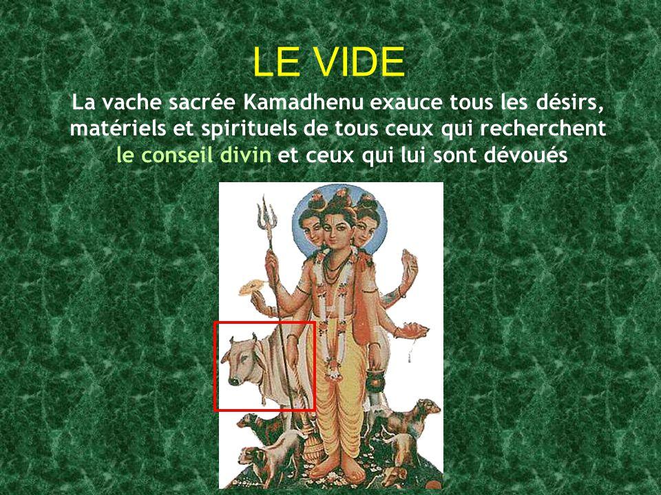 LE VIDE La vache sacrée Kamadhenu exauce tous les désirs, matériels et spirituels de tous ceux qui recherchent le conseil divin et ceux qui lui sont d