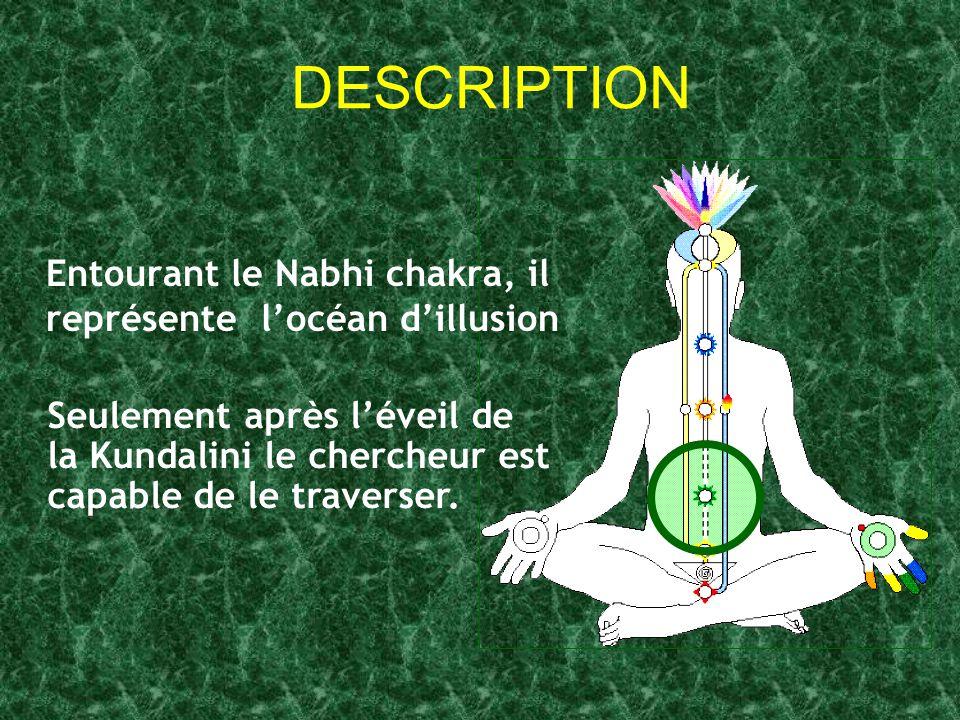 DESCRIPTION Entourant le Nabhi chakra, il représente l'océan d'illusion Seulement après l'éveil de la Kundalini le chercheur est capable de le travers