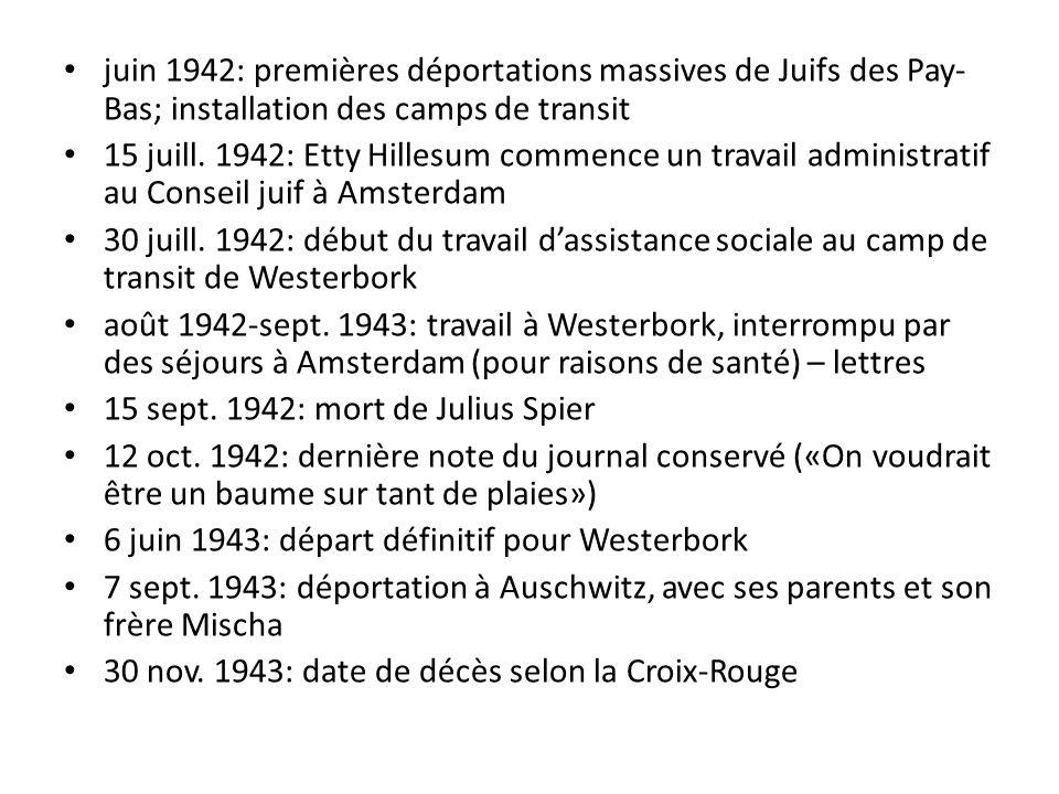 juin 1942: premières déportations massives de Juifs des Pay- Bas; installation des camps de transit 15 juill.