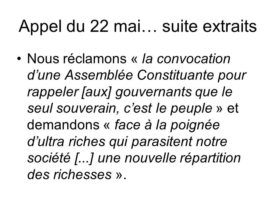 Appel du 22 mai… suite extraits Nous réclamons « la convocation d'une Assemblée Constituante pour rappeler [aux] gouvernants que le seul souverain, c'est le peuple » et demandons « face à la poignée d'ultra riches qui parasitent notre société [...] une nouvelle répartition des richesses ».