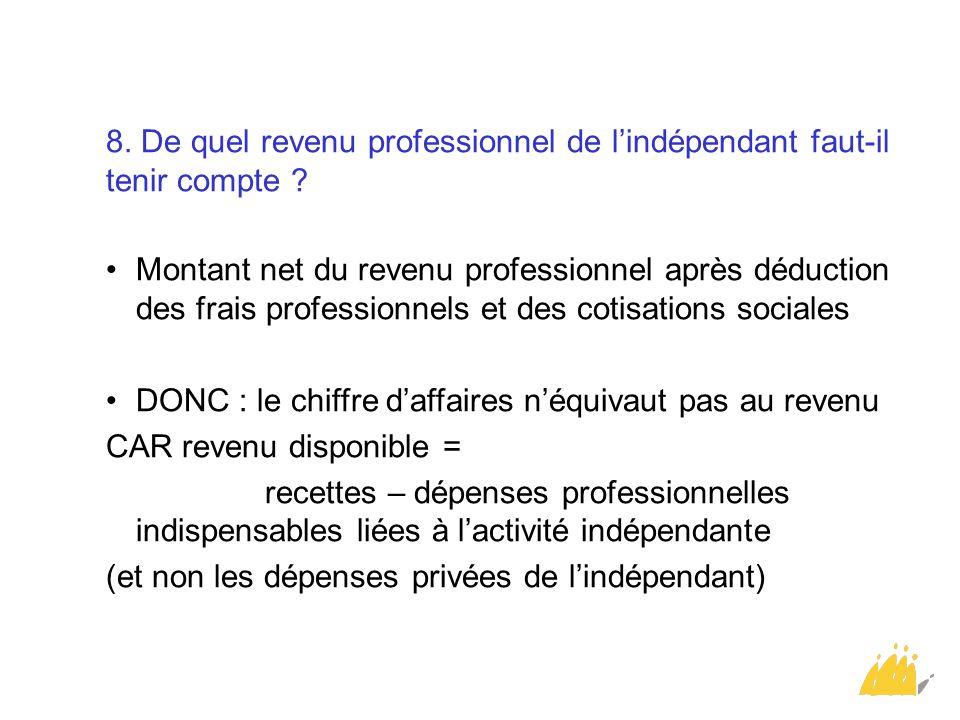 8. De quel revenu professionnel de l'indépendant faut-il tenir compte ? Montant net du revenu professionnel après déduction des frais professionnels e