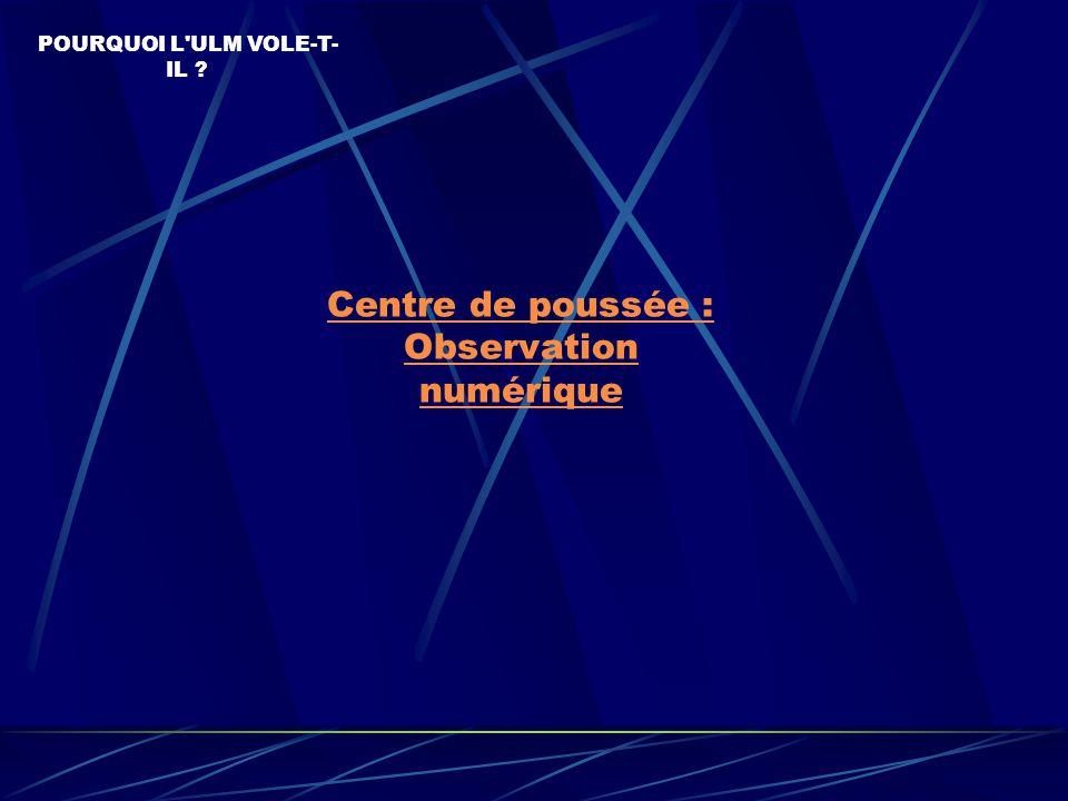Centre de poussée : Observation numérique POURQUOI L ULM VOLE-T- IL ?