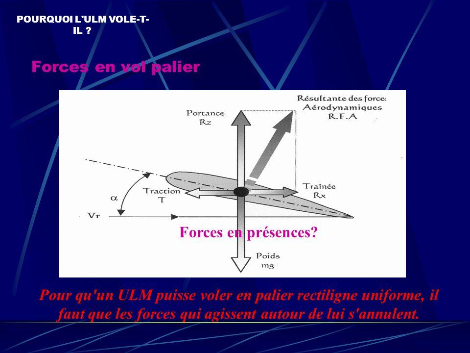 Forces en vol palier POURQUOI L ULM VOLE-T- IL .Forces en présences.