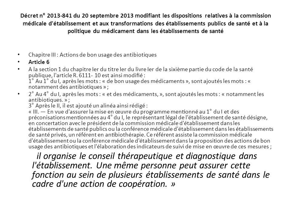 Décret n° 2013-841 du 20 septembre 2013 modifiant les dispositions relatives à la commission médicale d'établissement et aux transformations des e