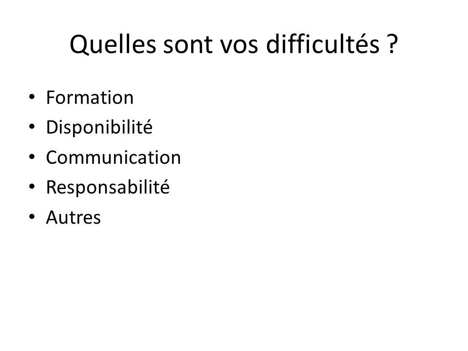Quelles sont vos difficultés ? Formation Disponibilité Communication Responsabilité Autres