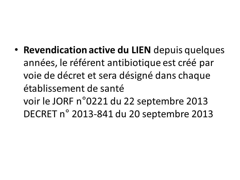 Revendication active du LIEN depuis quelques années, le référent antibiotique est créé par voie de décret et sera désigné dans chaque établis