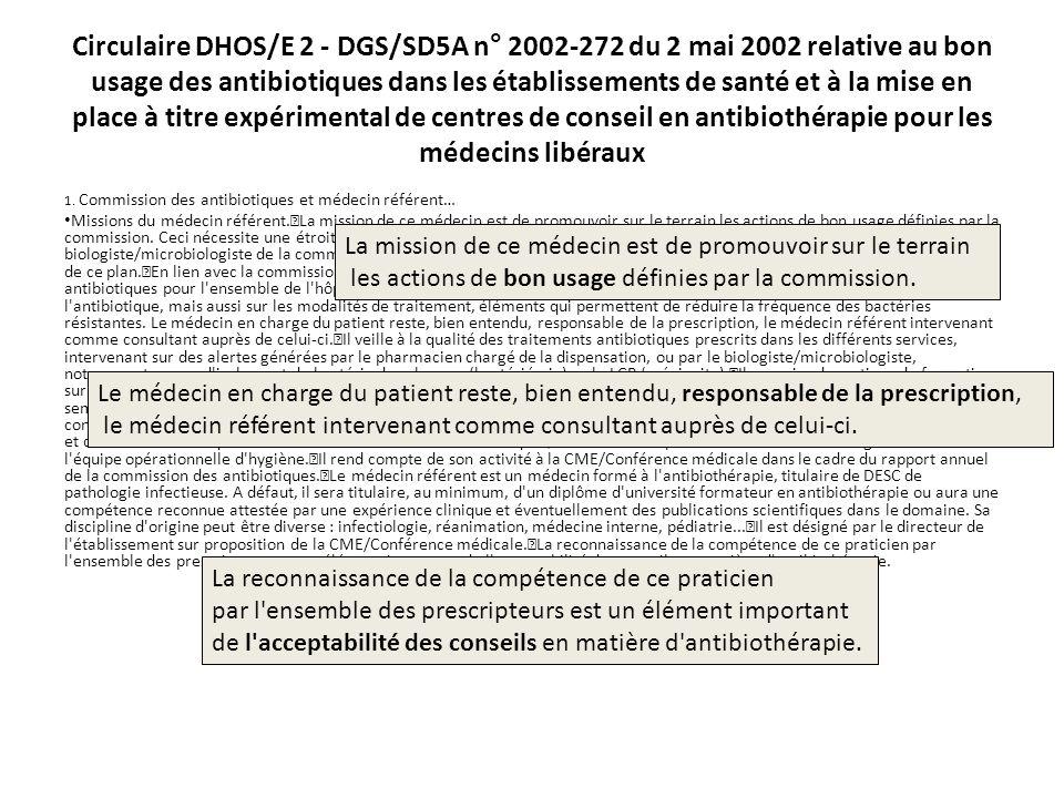 Circulaire DHOS/E 2 - DGS/SD5A n° 2002-272 du 2 mai 2002 relative au bon usage des antibiotiques dans les établissements de santé et à la mise en plac