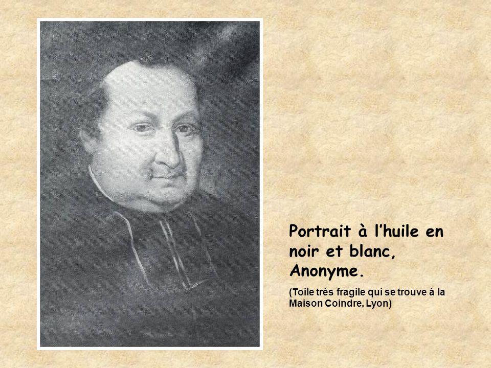 Portrait à l'huile en noir et blanc, Anonyme. (Toile très fragile qui se trouve à la Maison Coindre, Lyon)
