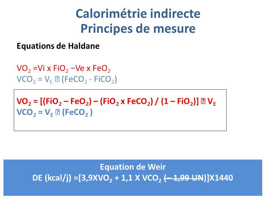 Equations de Haldane VO 2 =Vi x FiO 2 −Ve x FeO 2 VCO 2 = V E  (FeCO 2 - FiCO 2 ) VO 2 = [(FiO 2 – FeO 2 ) – (FiO 2 x FeCO 2 ) / (1 – FiO 2 )]  V E