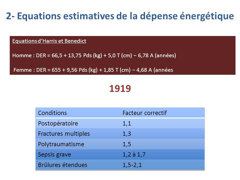 2- Equations estimatives de la dépense énergétique Equations d'Harris et Benedict Homme : DER = 66,5 + 13,75 Pds (kg) + 5,0 T (cm) − 6,78 A (années) F