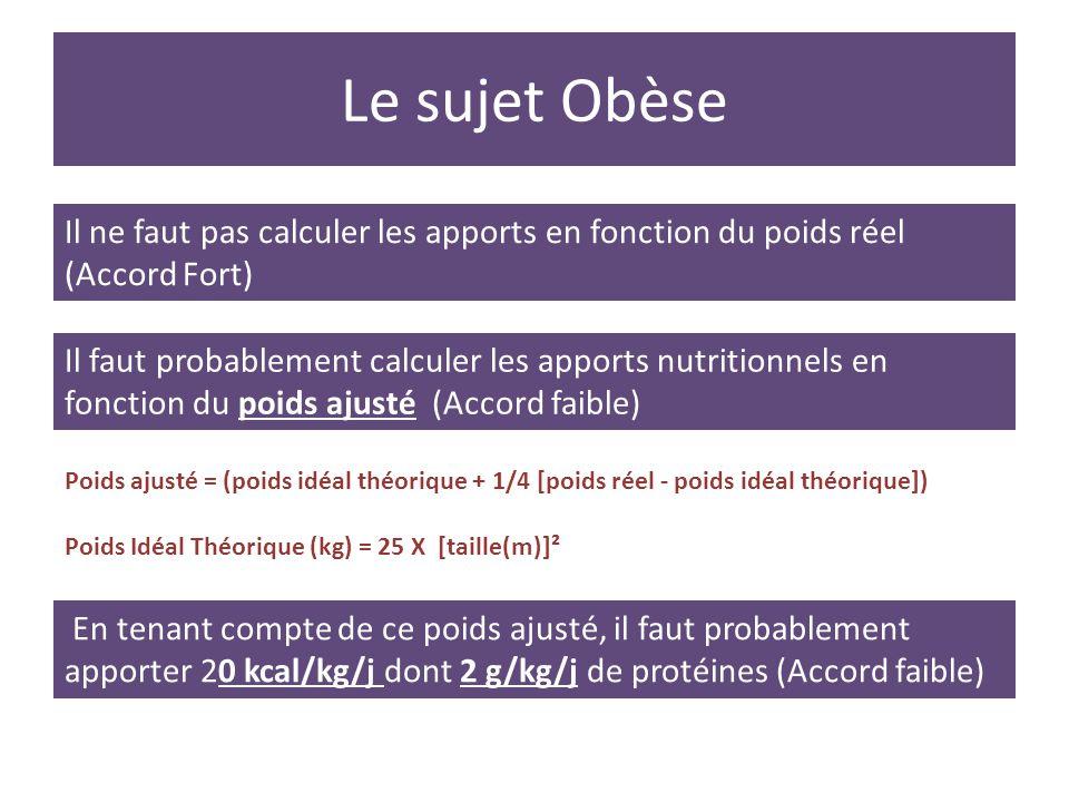Le sujet Obèse En tenant compte de ce poids ajusté, il faut probablement apporter 20 kcal/kg/j dont 2 g/kg/j de protéines (Accord faible) Il ne faut p