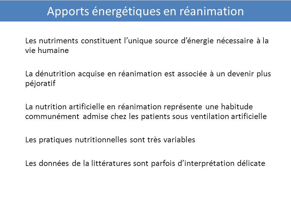 Apports énergétiques en réanimation Les nutriments constituent l'unique source d'énergie nécessaire à la vie humaine La dénutrition acquise en réanima