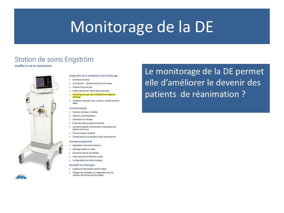 Monitorage de la DE Le monitorage de la DE permet elle d'améliorer le devenir des patients de réanimation ?
