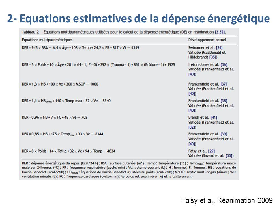 Faisy et a., Réanimation 2009 2- Equations estimatives de la dépense énergétique