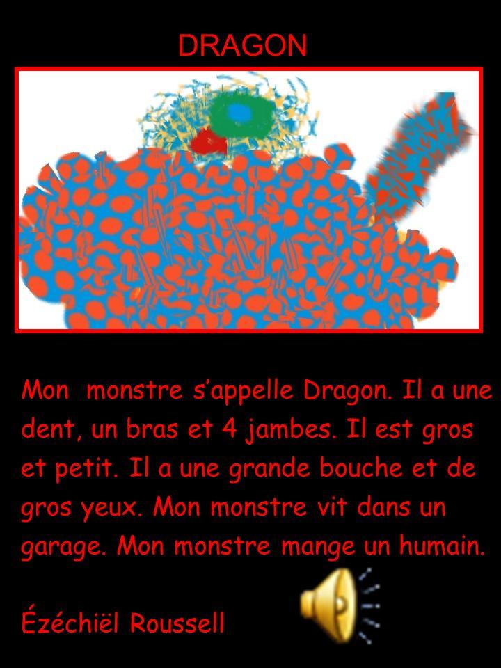 Mon monstre s'appelle Dragon. Il a une dent, un bras et 4 jambes. Il est gros et petit. Il a une grande bouche et de gros yeux. Mon monstre vit dans u