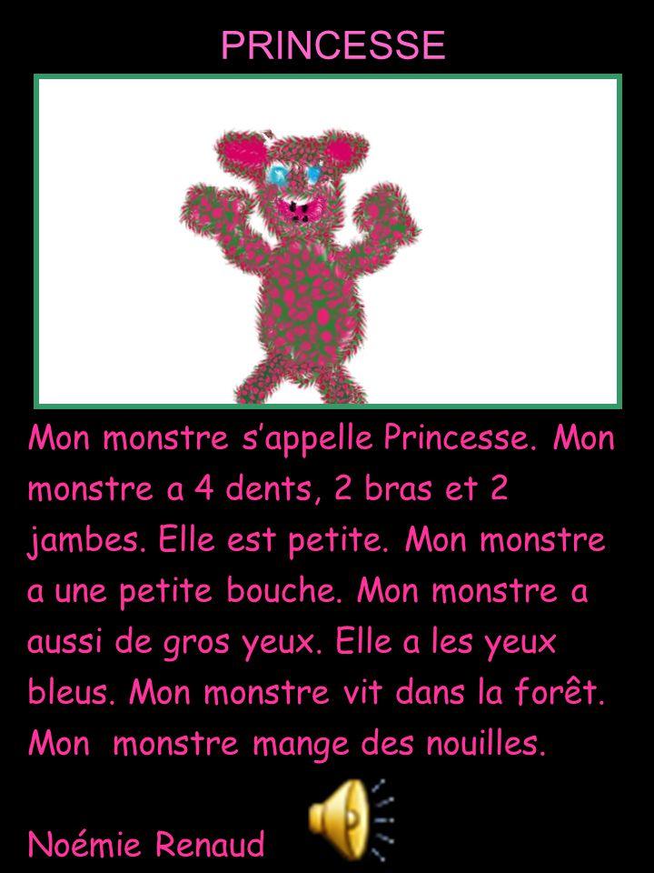 Mon monstre s'appelle Princesse. Mon monstre a 4 dents, 2 bras et 2 jambes. Elle est petite. Mon monstre a une petite bouche. Mon monstre a aussi de g
