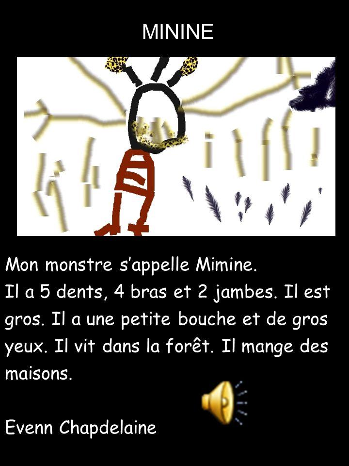 Mon monstre s'appelle Mimine. Il a 5 dents, 4 bras et 2 jambes. Il est gros. Il a une petite bouche et de gros yeux. Il vit dans la forêt. Il mange de