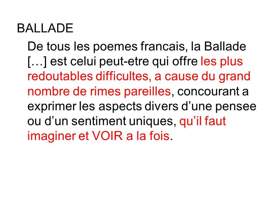 BALLADE De tous les poemes francais, la Ballade […] est celui peut-etre qui offre les plus redoutables difficultes, a cause du grand nombre de rimes pareilles, concourant a exprimer les aspects divers d'une pensee ou d'un sentiment uniques, qu'il faut imaginer et VOIR a la fois.