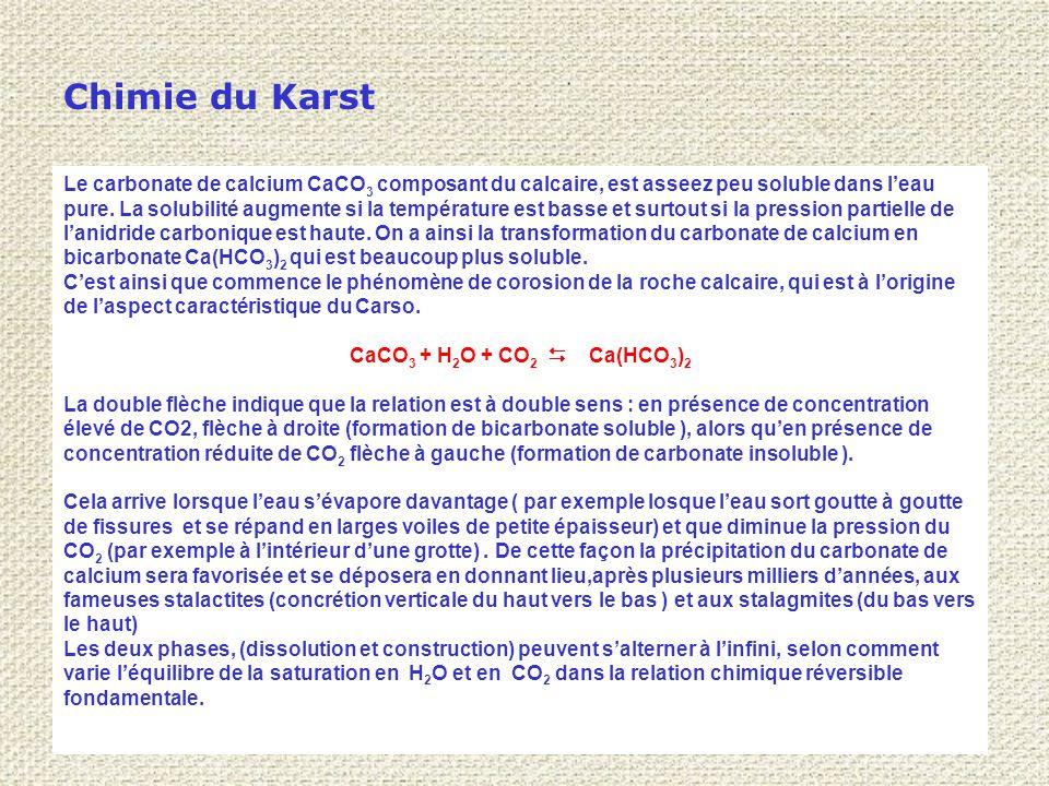 Chimie du Karst Le carbonate de calcium CaCO 3 composant du calcaire, est asseez peu soluble dans l'eau pure.