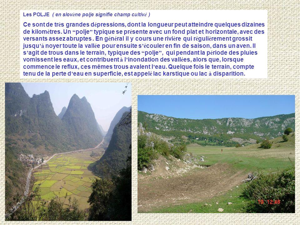 Les POLJE ( en slov è ne polje signifie champ cultiv é ) Ce sont de tr è s grandes d é pressions, dont la longueur peut atteindre quelques dizaines de kilom è tres.