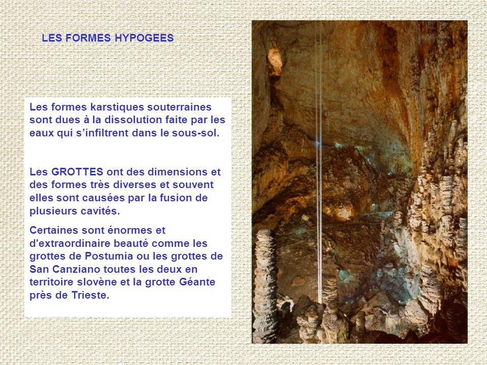 Les formes karstiques souterraines sont dues à la dissolution faite par les eaux qui s'infiltrent dans le sous-sol.