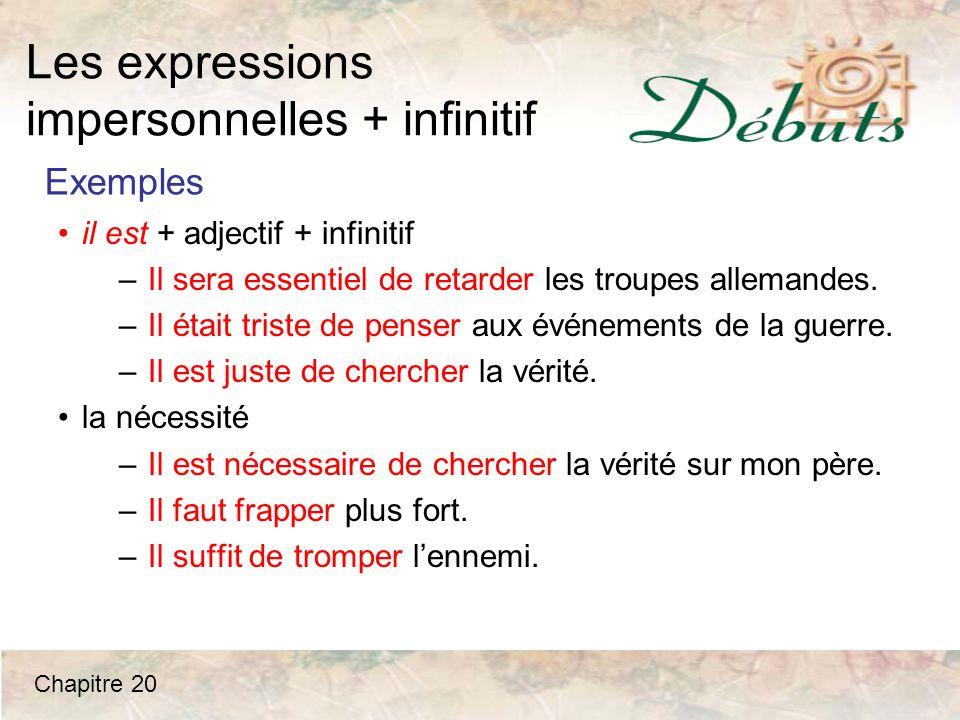 Les expressions impersonnelles + infinitif Mme Leblanc: La vérité...