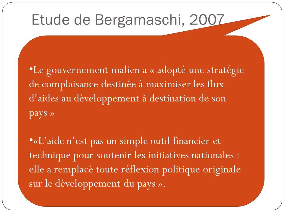 Etude de Bergamaschi, 2007 Le gouvernement malien a « adopté une stratégie de complaisance destinée à maximiser les flux d'aides au développement à destination de son pays » «L'aide n'est pas un simple outil financier et technique pour soutenir les initiatives nationales : elle a remplacé toute réflexion politique originale sur le développement du pays ».