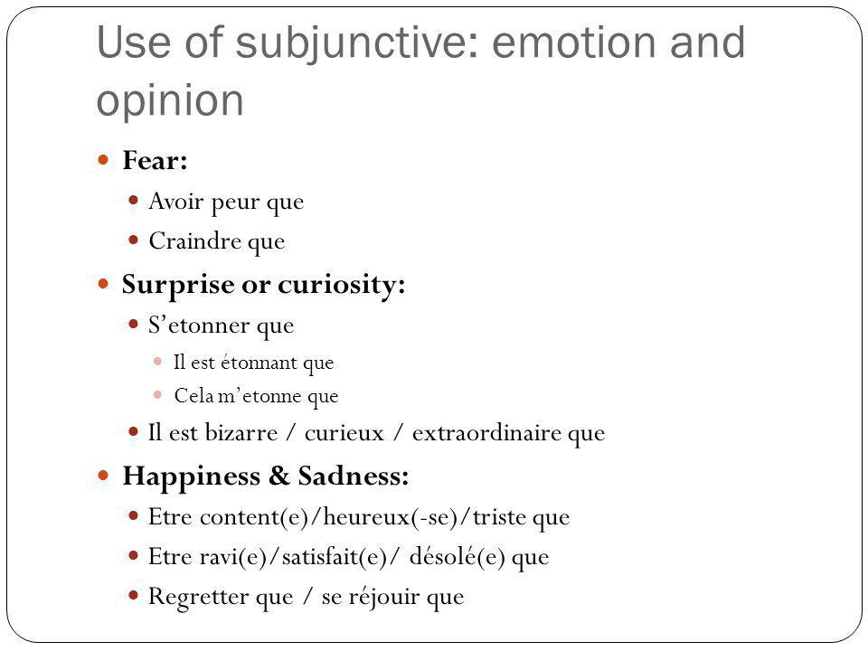 Use of subjunctive: emotion and opinion Fear: Avoir peur que Craindre que Surprise or curiosity: S'etonner que Il est étonnant que Cela m'etonne que I