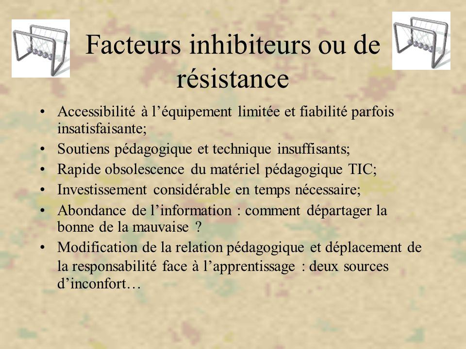 Facteurs inhibiteurs ou de résistance Accessibilité à l'équipement limitée et fiabilité parfois insatisfaisante; Soutiens pédagogique et technique ins