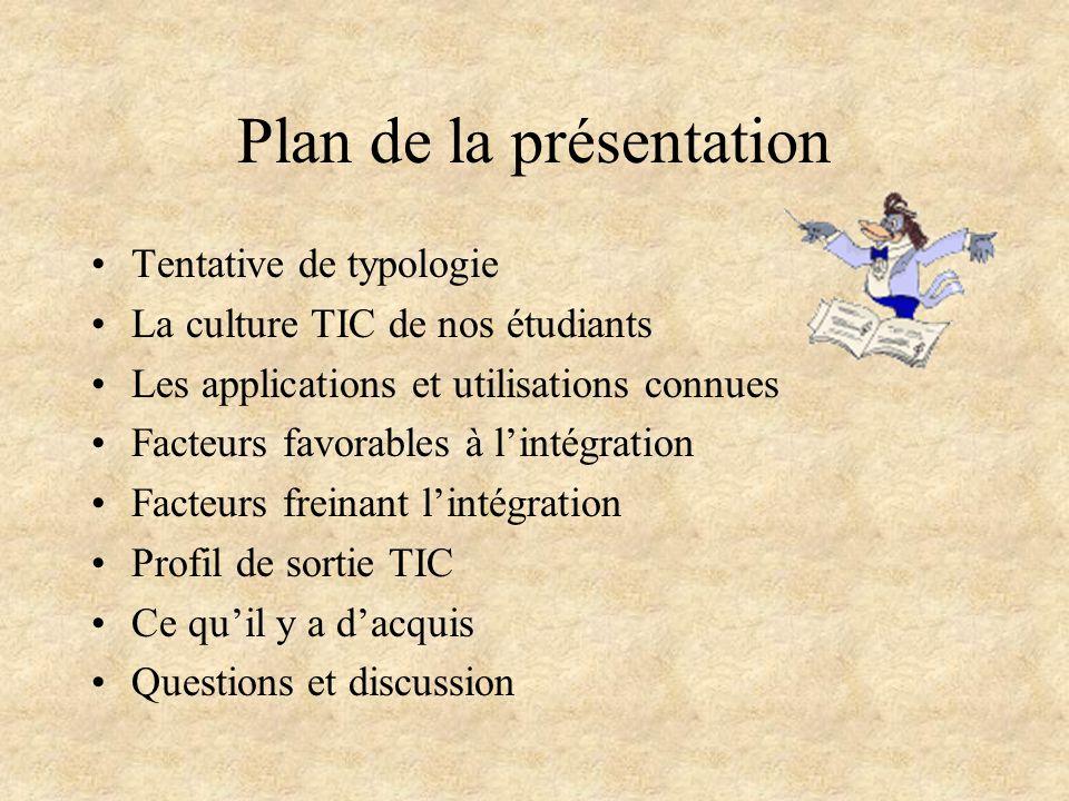 Plan de la présentation Tentative de typologie La culture TIC de nos étudiants Les applications et utilisations connues Facteurs favorables à l'intégr