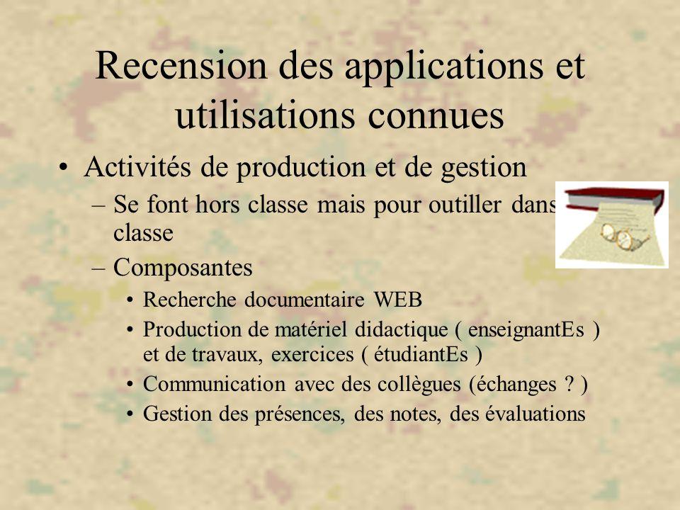 Recension des applications et utilisations connues Activités de production et de gestion –Se font hors classe mais pour outiller dans la classe –Compo
