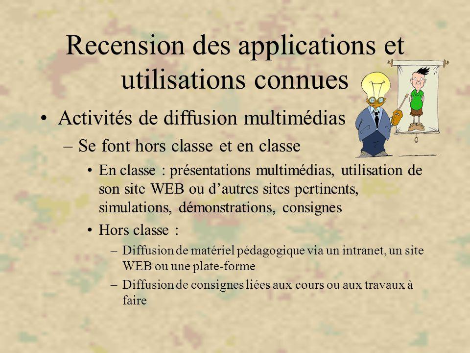 Recension des applications et utilisations connues Activités de diffusion multimédias –Se font hors classe et en classe En classe : présentations mult