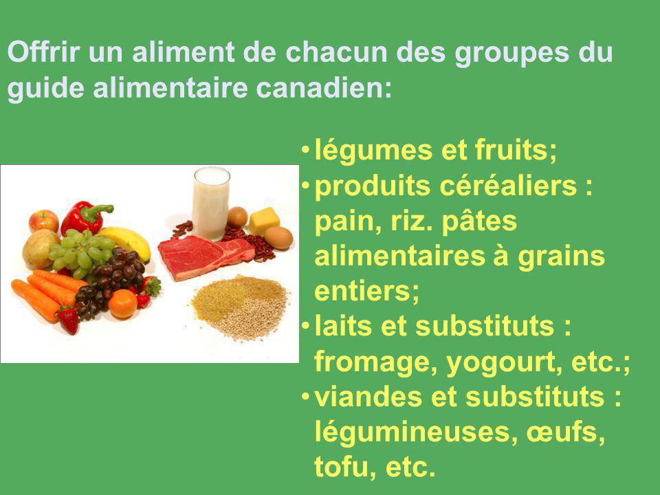 légumes et fruits; produits céréaliers : pain, riz.