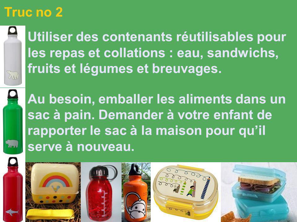 Utiliser des contenants réutilisables pour les repas et collations : eau, sandwichs, fruits et légumes et breuvages.