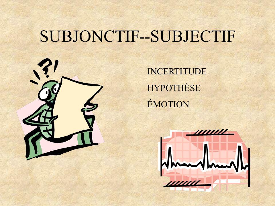 SUBJONCTIF--SUBJECTIF INCERTITUDE HYPOTHÈSE ÉMOTION