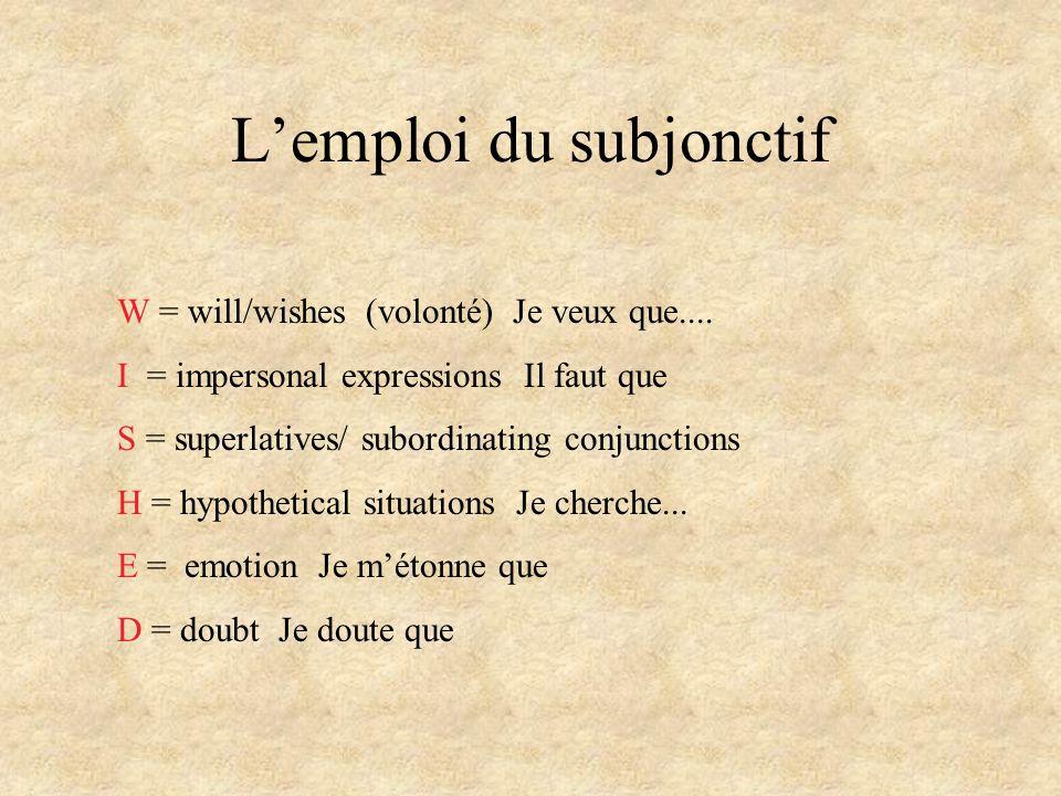L'emploi du subjonctif W = will/wishes (volonté) Je veux que.... I = impersonal expressions Il faut que S = superlatives/ subordinating conjunctions H