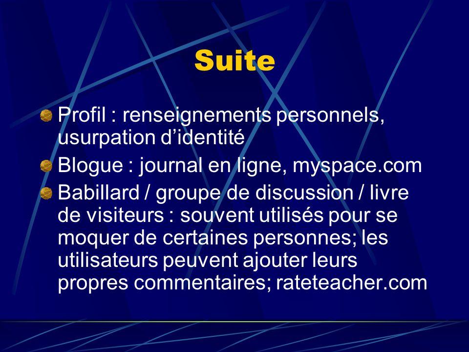 Suite Profil : renseignements personnels, usurpation d'identité Blogue : journal en ligne, myspace.com Babillard / groupe de discussion / livre de vis