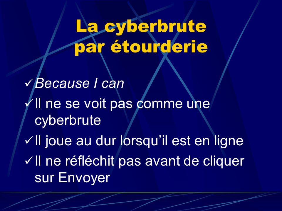 La cyberbrute par étourderie Because I can Il ne se voit pas comme une cyberbrute Il joue au dur lorsqu'il est en ligne Il ne réfléchit pas avant de c