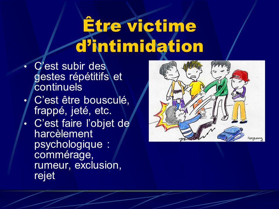Être victime d'intimidation C'est subir des gestes répétitifs et continuels C'est être bousculé, frappé, jeté, etc. C'est faire l'objet de harcèlement