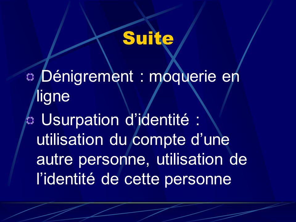 Suite Dénigrement : moquerie en ligne Usurpation d'identité : utilisation du compte d'une autre personne, utilisation de l'identité de cette personne