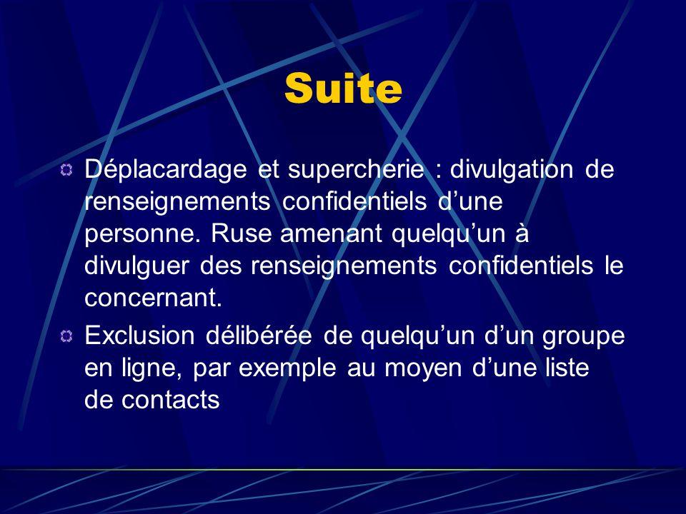 Suite Déplacardage et supercherie : divulgation de renseignements confidentiels d'une personne. Ruse amenant quelqu'un à divulguer des renseignements
