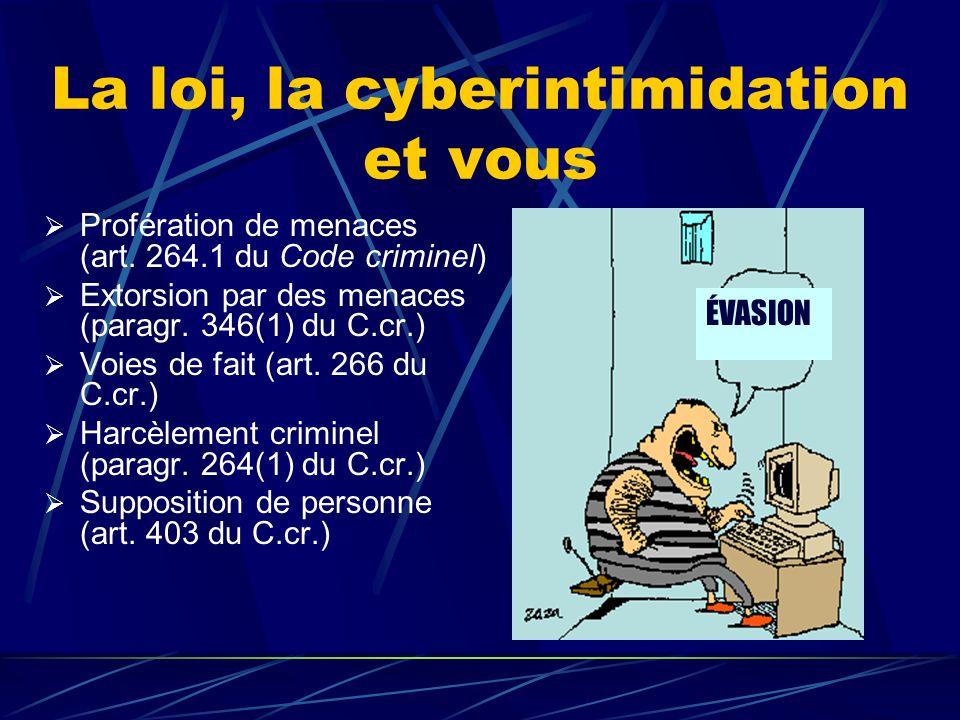 La loi, la cyberintimidation et vous  Profération de menaces (art. 264.1 du Code criminel)  Extorsion par des menaces (paragr. 346(1) du C.cr.)  Vo