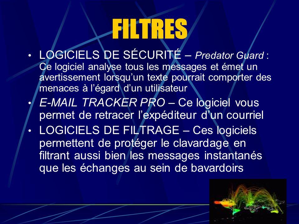FILTRES LOGICIELS DE SÉCURITÉ – Predator Guard : Ce logiciel analyse tous les messages et émet un avertissement lorsqu'un texte pourrait comporter des
