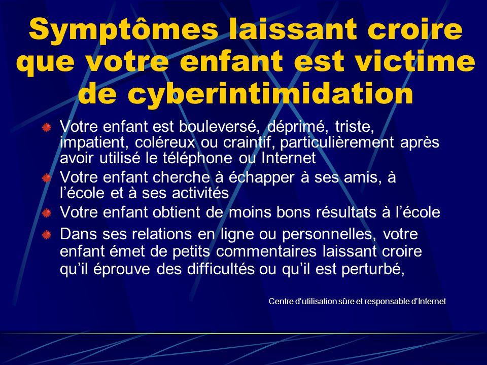 Symptômes laissant croire que votre enfant est victime de cyberintimidation Votre enfant est bouleversé, déprimé, triste, impatient, coléreux ou crain