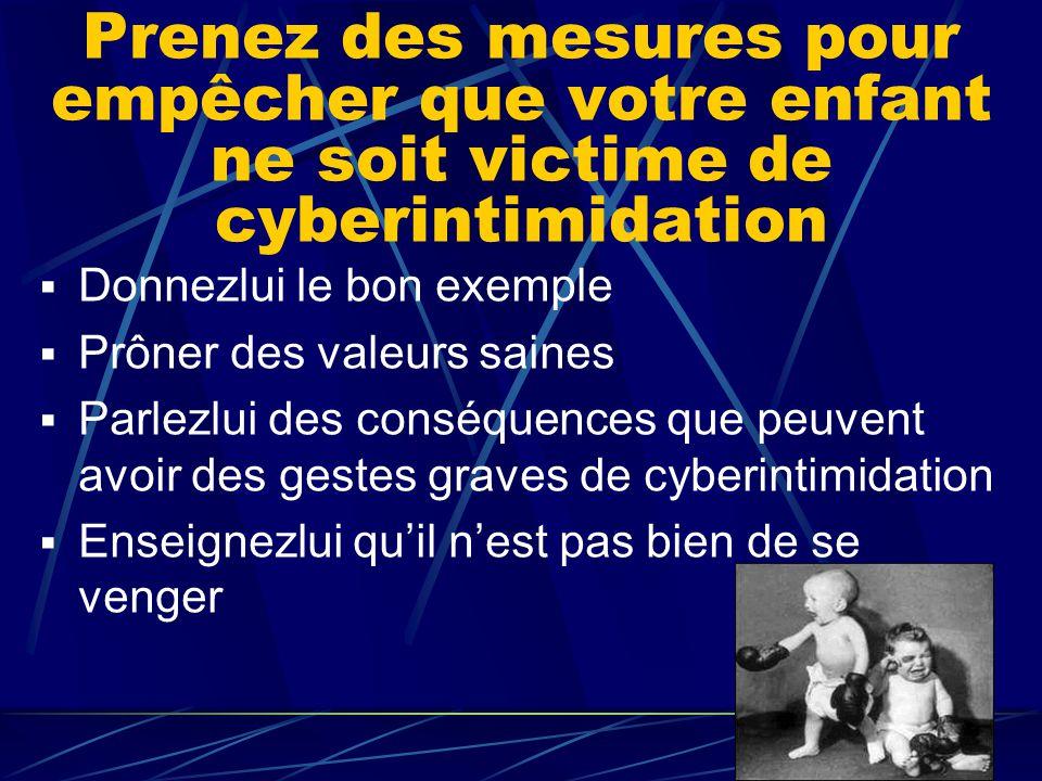 Prenez des mesures pour empêcher que votre enfant ne soit victime de cyberintimidation  Donnezlui le bon exemple  Prôner des valeurs saines  Parle