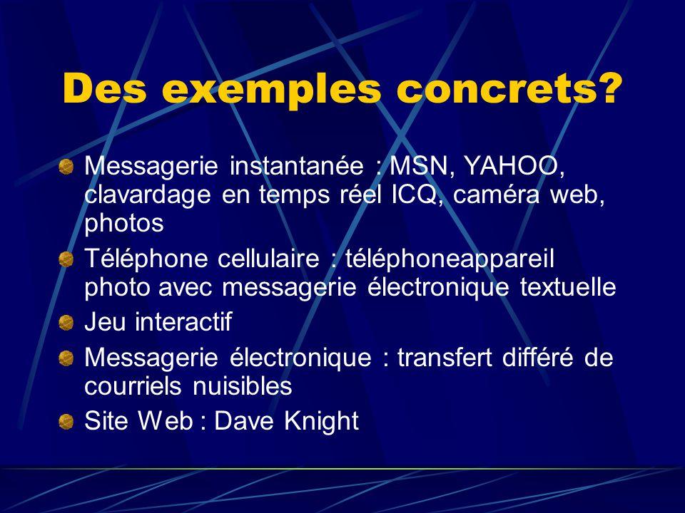 Des exemples concrets? Messagerie instantanée : MSN, YAHOO, clavardage en temps réel ICQ, caméra web, photos Téléphone cellulaire : téléphoneappareil