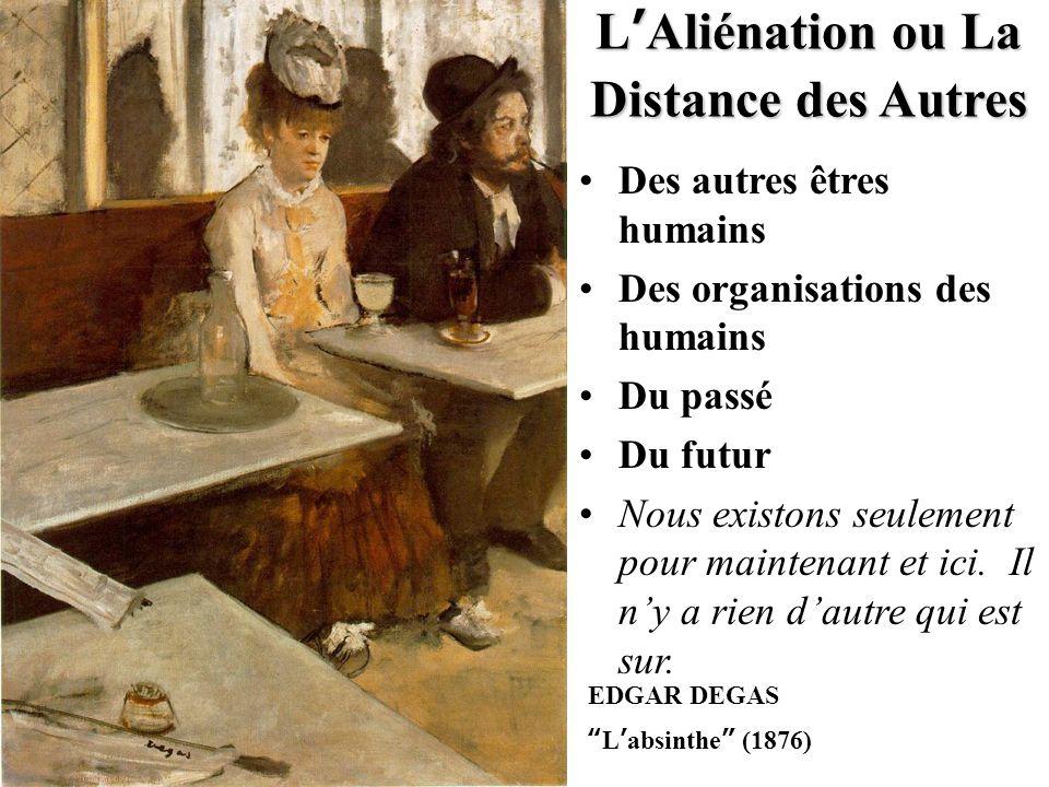 """EDGAR DEGAS """" L ' absinthe """" (1876) L ' Aliénation ou La Distance des Autres Des autres êtres humains Des organisations des humains Du passé Du futur"""